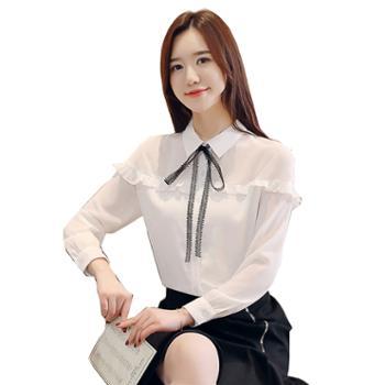 百旅Bailv蝴蝶结白色衬衫女气质韩版宽松系带打底雪纺衫