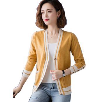 百旅Bailv开衫外套早春针织春装新款时尚短款毛衣外套披肩外搭