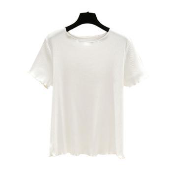 百旅Bailv夏季大码短袖多色纯棉木耳边T恤