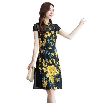 百旅Bailv夏季优雅复古拉链包边气质花色连衣裙