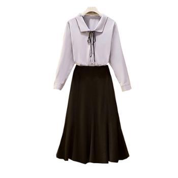 百旅女士套裙秋季翻领系带衬衣显瘦黑裙两件套