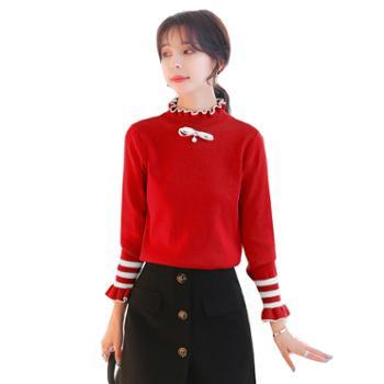 百旅女士毛衣秋季加厚纯色修身打底衫女