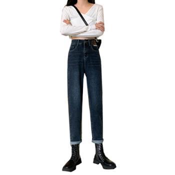 百旅女士牛仔裤直筒宽松高腰老爹阔腿裤