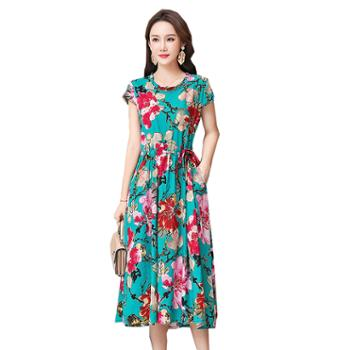 百旅女式连衣裙夏季圆领短袖系带花色中长裙