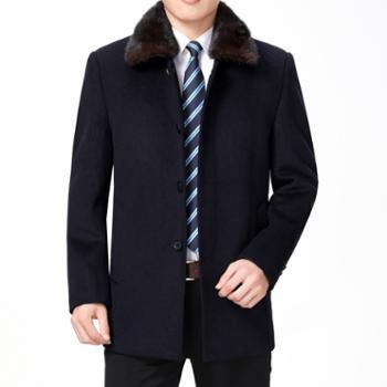 寻爵羊毛呢子大衣秋冬水貂毛领羽绒内胆中长款