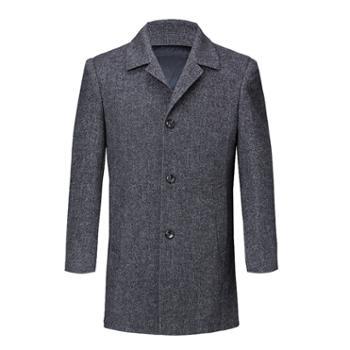 寻爵大衣双面呢羊绒可拆羽绒内胆西装领中长款