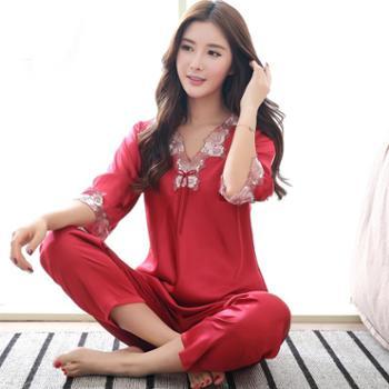 春秋新款女士丝绸睡衣七分袖韩版蕾丝女款家居服优雅睡衣女