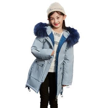 童装 冬季儿童女童羽绒服中长款韩版加厚中大童 B1912