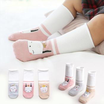 【3双装】新生婴儿袜子秋冬卡通高筒童袜宝宝袜子棉袜1-3岁印胶可爱长筒袜 TZ
