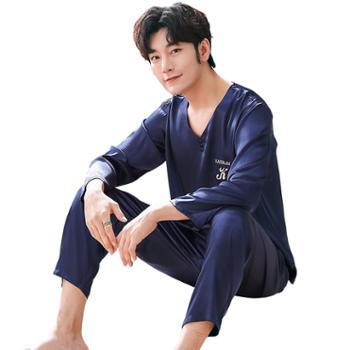 男士丝绸睡衣韩版休闲男款套头长袖大码家居服 K-5035男
