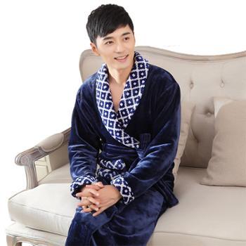 冬季男士睡袍珊瑚绒加厚加大加肥长款法兰绒冬男浴袍浴衣睡衣