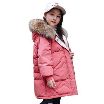 女童羽绒服中长款女童宝宝加厚韩版洋气外套童装冬装一8828