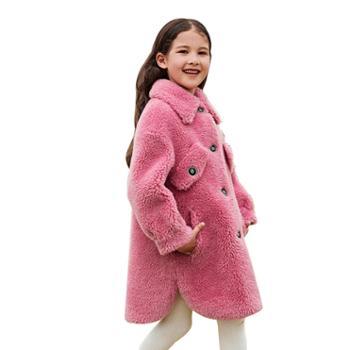 儿童外套女童韩版皮毛一体颗粒绒童装