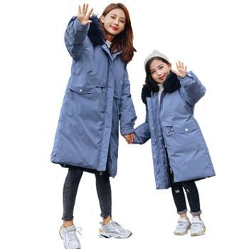 【亲子装,单件价】儿童羽绒服女童中长款韩版中大童加厚白鸭绒亲子外套
