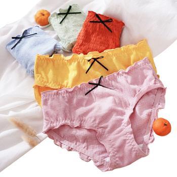 (单条价)女纯棉裆低腰透泡泡木耳边内裤