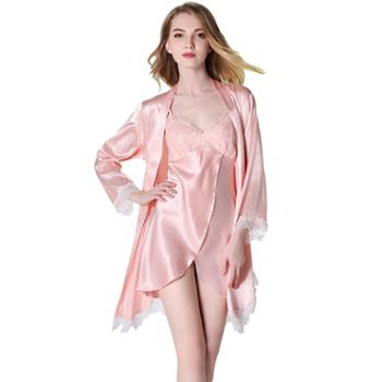 女仿真丝夏季睡裙两件套长袖睡袍 蕾丝吊带裙 1520