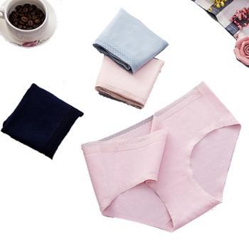 一片式无痕内裤女士纯棉底裤学生蕾丝中腰透气三角裤(单条价) 乐881