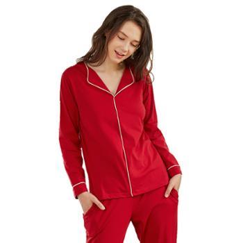 女士小翻领长袖长裤纯棉睡衣 可外穿欧美家居服套