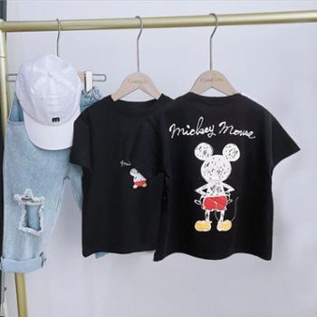 儿童T恤米奇男童短袖纯棉宝宝夏装鼠女童卡通上衣