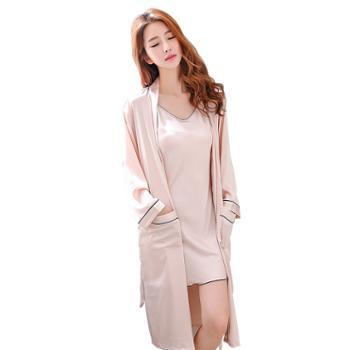 【多色选】女士丝绸吊带睡袍两件套长款双口袋睡衣