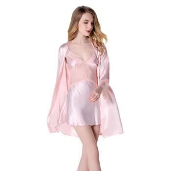 女仿真丝睡袍性感吊带裙长袖睡衣家居服套装