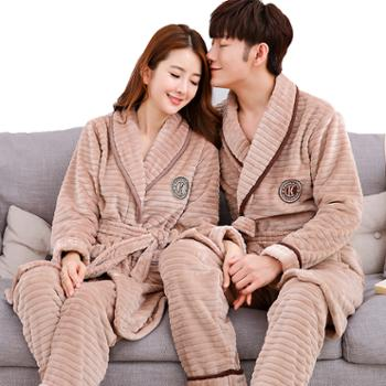 秋冬季情侣睡衣长袖翻领法兰绒加厚保暖休闲男女家居服套装