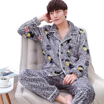 男士法兰绒睡衣秋冬季青少年加厚加大码珊瑚绒家居服