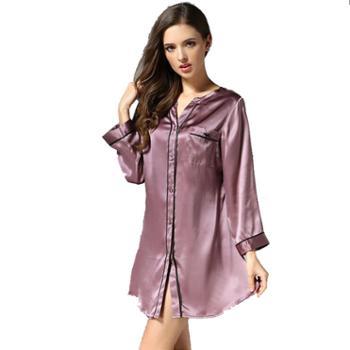 春夏季性感衬衫式睡衣女桑蚕丝纯色真丝绸睡裙 S3632