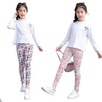 夏季韩版童裤儿童百搭印花童装女童打底裤