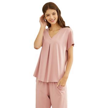 女士可外穿纯色V领莫代尔棉短袖长裤睡衣家居服