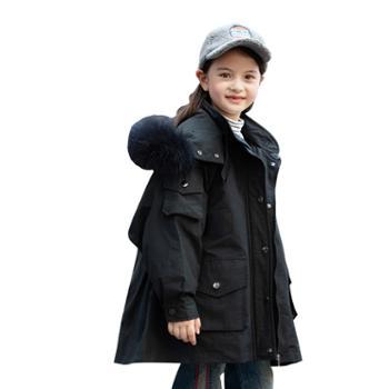 家羚 儿童羽绒服女童中长款加厚外套 活里活面