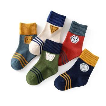 家羚 5双装儿童袜子秋冬中筒地板袜 卡通童袜