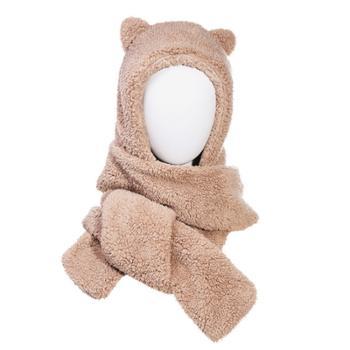 毛绒小熊帽子围巾一体女秋冬保暖