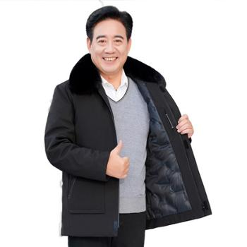 ELSYALN 新款爸爸装中长版加厚中年修身白鸭绒 毛领外套