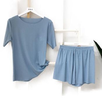 YOUHOO夏季韩版薄款冰丝休闲家居服两件套装可外穿