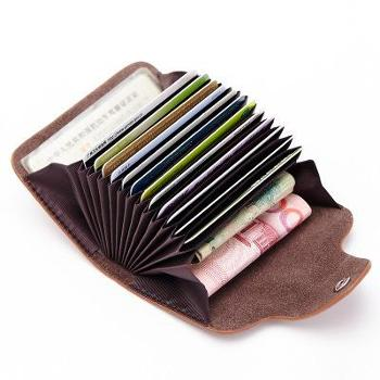 真皮女士多卡位卡片包风琴小卡包