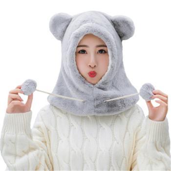 帽子女秋冬天围脖骑电动车防风护耳冬季韩版可爱针织毛线帽女