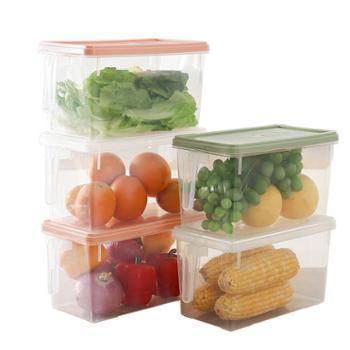 欧茂冰箱收纳保鲜盒带盖带把手3只装