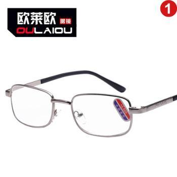 oulaiou/欧莱欧老花镜金属架中框全框架玻璃老花眼镜水晶老花镜8908