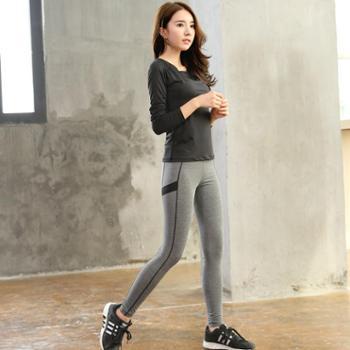 春夏健身房瑜伽服两件套装女运动跑步显瘦速干衣短袖弹力运动长裤