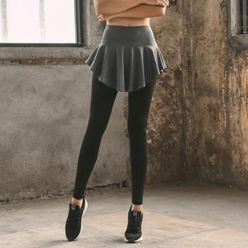 新款女士运动瑜伽服长裤假两件裤裙高腰弹力速干跑步裤