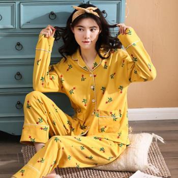 女士睡衣纯棉长袖套装春季2019开衫全棉韩版长裤