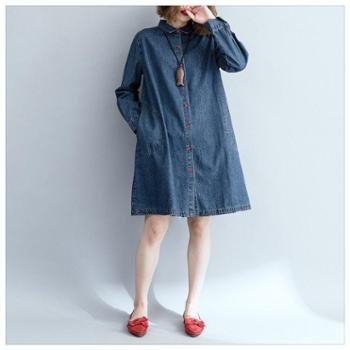 秋装新款大码女装时尚宽松百搭胖mm中长款棉质牛仔