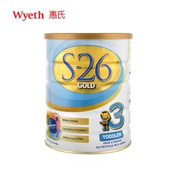 惠氏澳新版惠氏S26金装3段900g婴幼儿配方奶粉适用于1-3岁