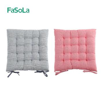 FaSoLa日式条纹坐垫四季薄款餐椅垫防滑系带增高垫