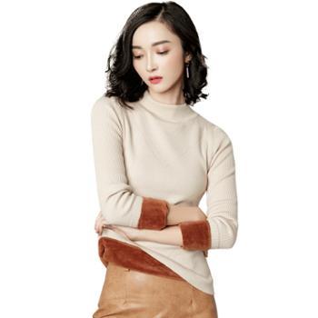 馨霓雅女款冬加厚加绒打底针织衫T3049