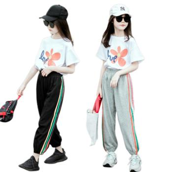馨霓雅女大童夏款休闲T恤运动裤JF2104