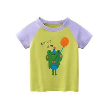 馨霓雅女童夏款青蛙短袖T恤HT9301薄款