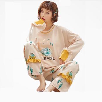 LionSnif韩版长袖秋冬季女士卡通简约家居服两睡衣件套装