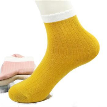 浪莎袜子女士秋冬日系棉袜精梳棉休闲可爱运动防臭中筒女短袜